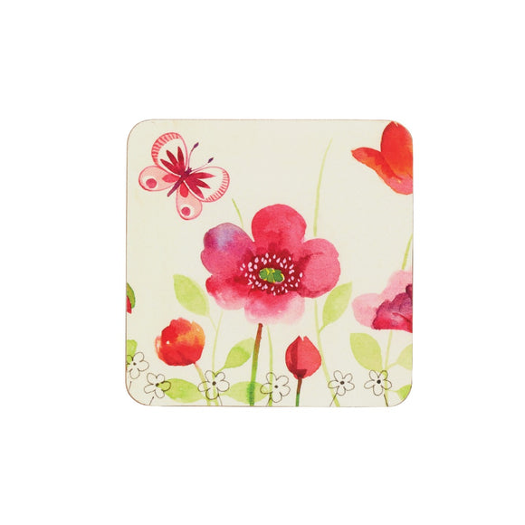 KitchenCraft Poppy Field Cork Coasters x4