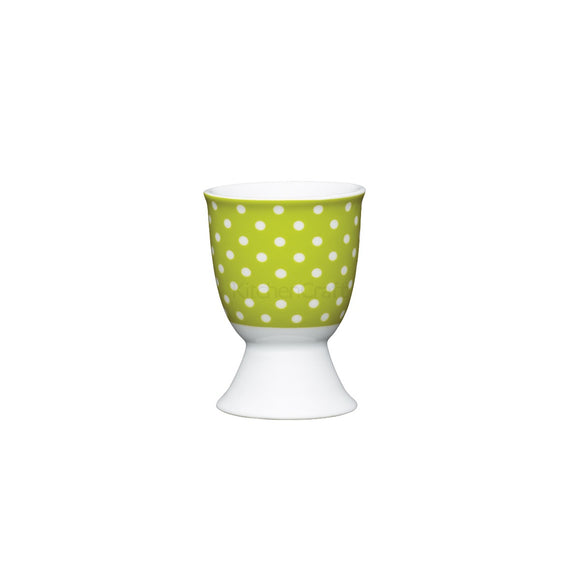 KitchenCraft Green Polka Dot Porcelain Egg Cup