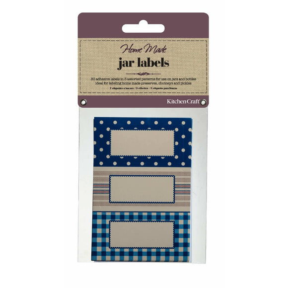 Home Made Jam Jar Labels Stitched Stripes x30