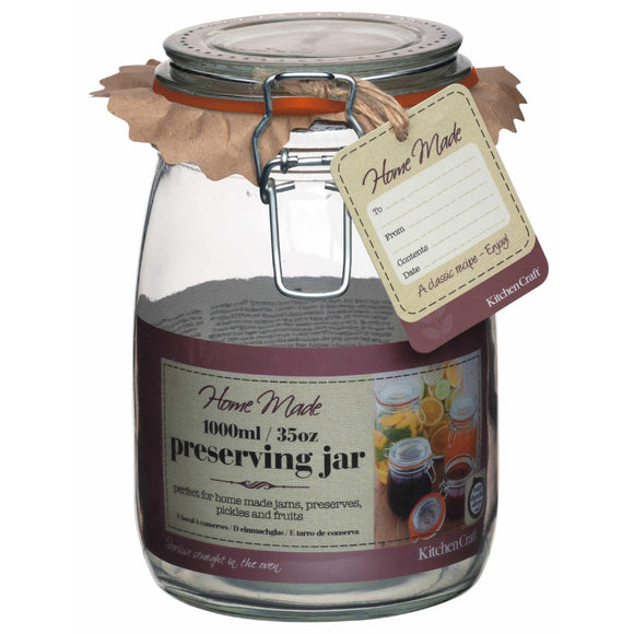 Home Made Glass Preserving Jar 1L