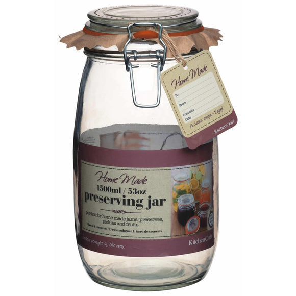 Home Made Glass Preserving Jar 1.5L