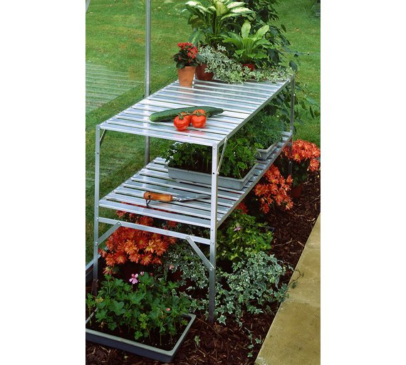 Halls Aluminium 2 Tier Slatted Greenhouse Staging 4ft