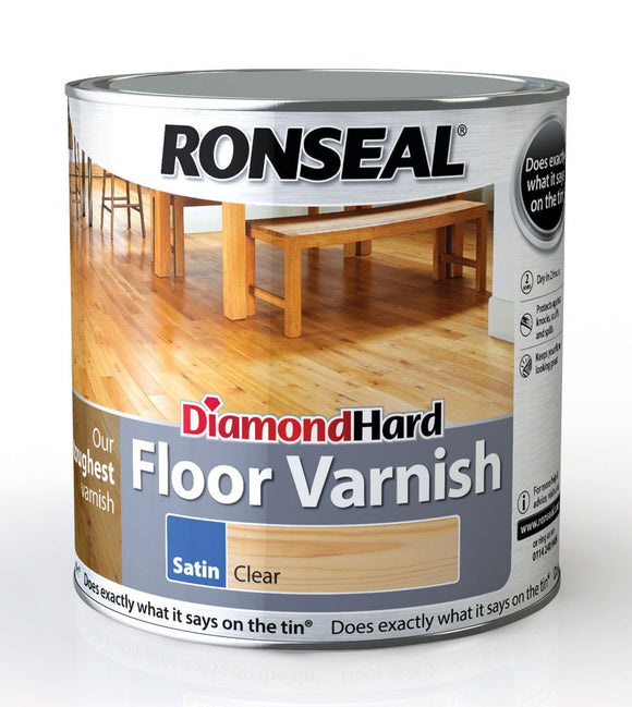 Ronseal Diamond Hard Floor Varnish Satin Clear 2.5L