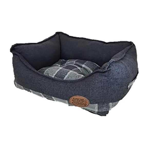 Snug & Cosy Grey Checker Square Dog Bed