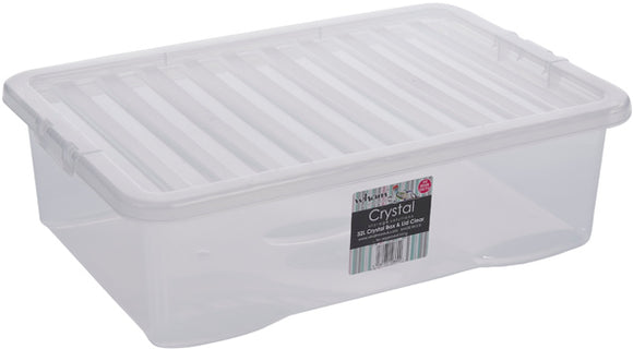 Wham Crystal Under Bed Storage Box & Lid Clear 32L