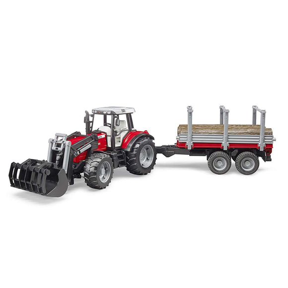 Bruder Massey Ferguson 7480 Tractor w/ Front Loader & Timber Trailer