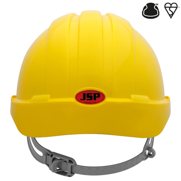JSP EVO2 Vented, Standard Peak, One Touch Slip Ratchet Yellow Helmet