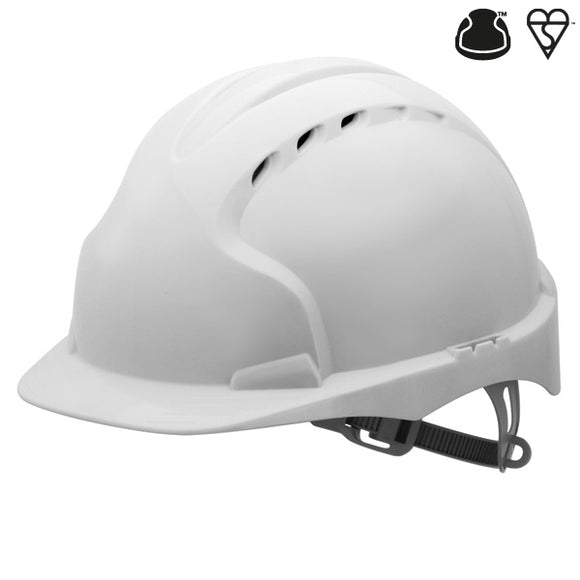JSP EVO2 Vented, Standard Peak, One Touch Slip Ratchet White helmet