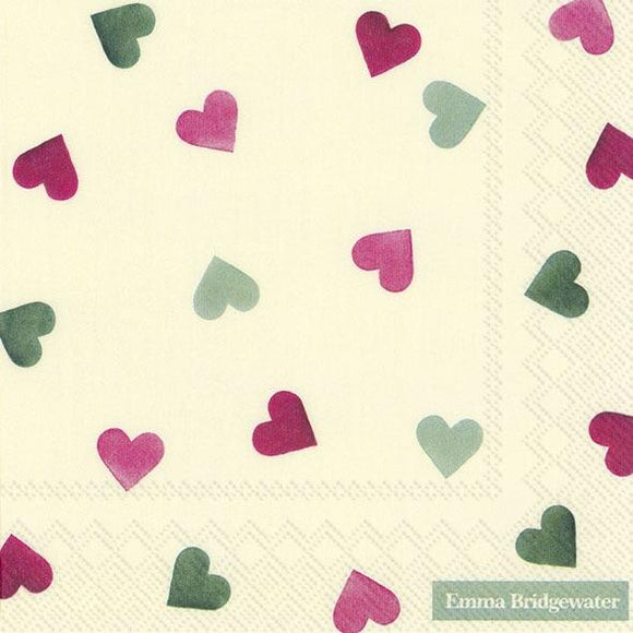 Emma Bridgewater Pink And Green Hearts Lunch Napkins
