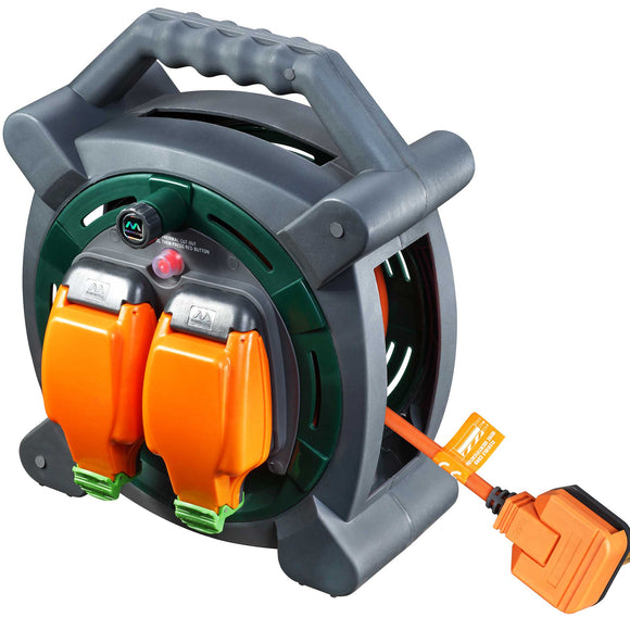 Masterplug 20m Case Reel with 2 Weatherproof Sockets