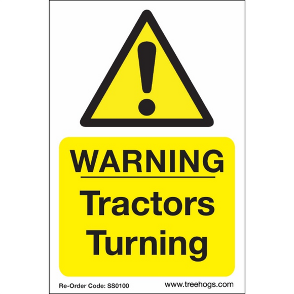 Arbortec SS0100 Corex Safety Sign Warning Tractors Turning