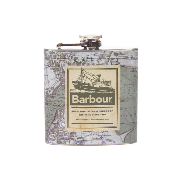 Barbour Archive Map 6oz Hip Flask