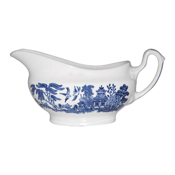 Queens by Churchill Blue Willow Gravy Boat