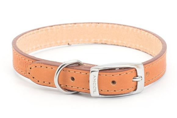 Ancol Leather Dog Collar Tan 22