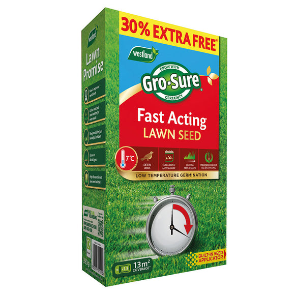 Westland Gro-Sure Fast Acting Lawn Seed 10m2 + 30% extra free