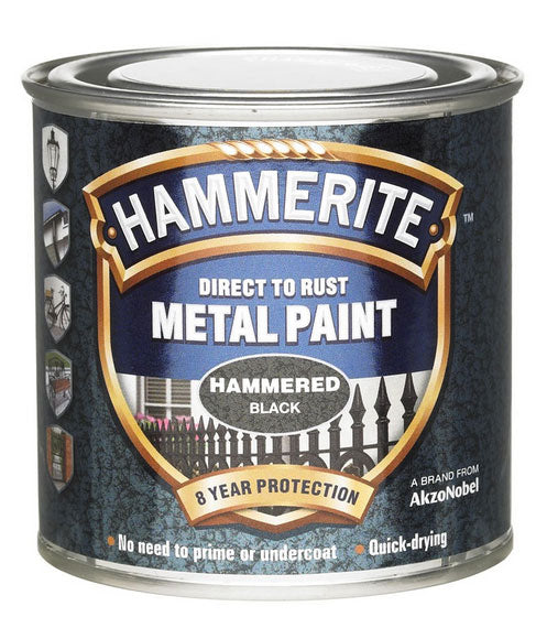 Hammerite Direct To Rust Metal Paint - Hammered Finish In Black 250ML