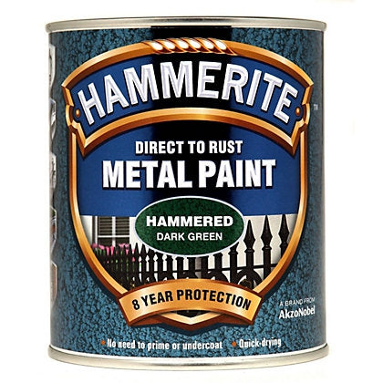 Hammerite Direct To Rust Metal Paint - Hammered Finish In Dark Green 750ML