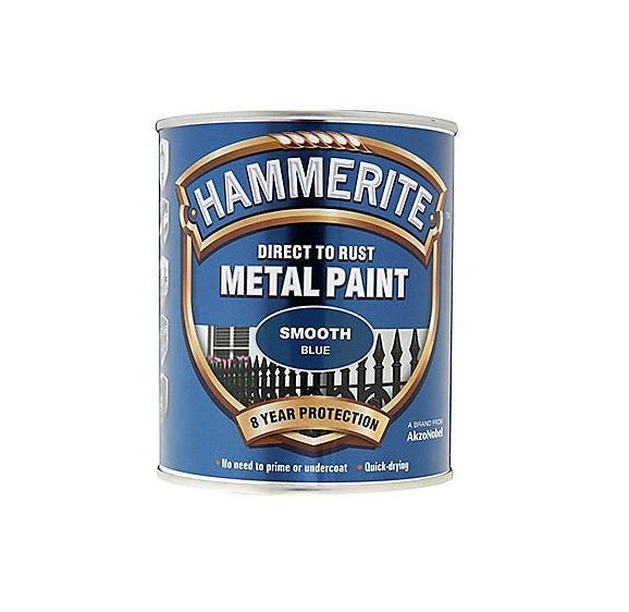 Hammerite Direct To Rust Metal Paint - Smooth Finish In Blue 750ML