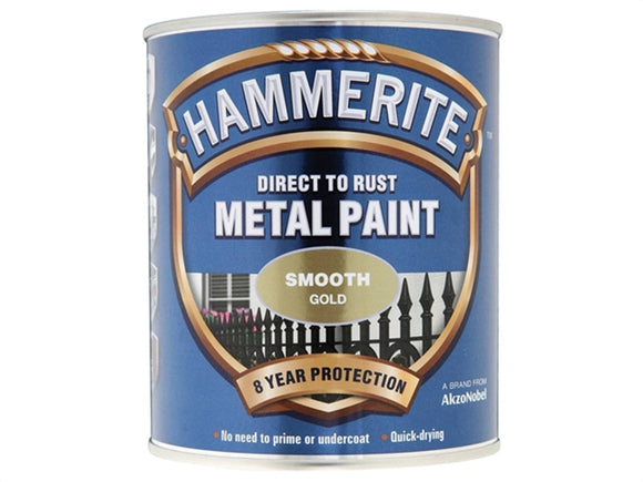 Hammerite Direct To Rust Metal Paint - Smooth Finish in Gold 250ML