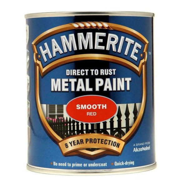 Hammerite Direct To Rust Metal Paint - Smooth Finish in Red 750ML