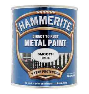 Hammerite Direct To Rust Metal Paint - Smooth Finish in White 750ML