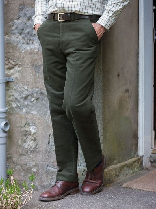 Hoggs Monarch Moleskin Trousers Dark Olive