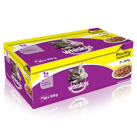 Whiskas Poultry Selection in Jelly Wet Adult Cat Food Pouches x 40