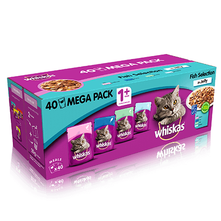 Whiskas Fish Selection in Jelly Wet Adult Cat Food Pouches x 40