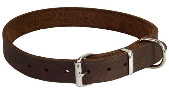 Earthbound Brown Leather Dog Collar S