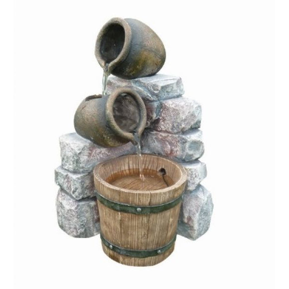 Aqua Creations Medium 2 Pots & Wooden Barrel Water Feature With Lights