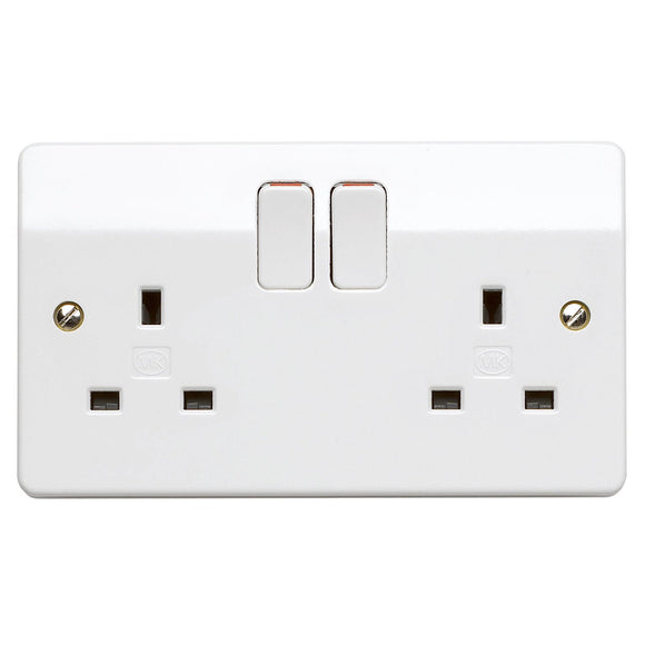 MK Electric Double Switch Socket DP 13A 2 Gang White