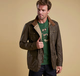 Barbour Mens Waxed Jacket Lightweight Ogston Dark Sand