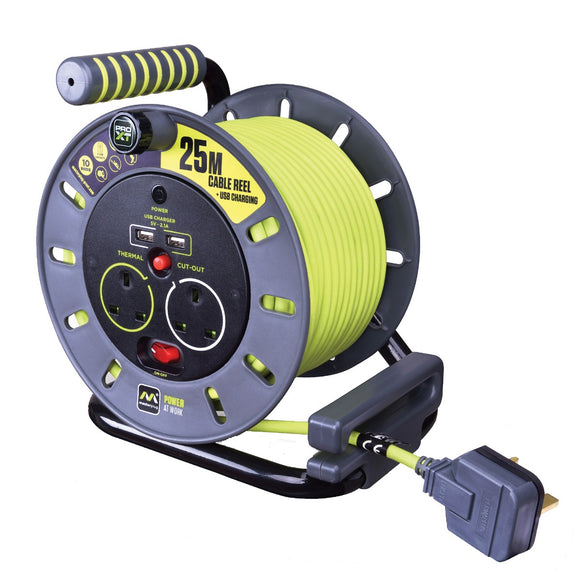 Masterplug Pro-XT 25m Open Reel with USB Charging, 2 Sockets & Switched