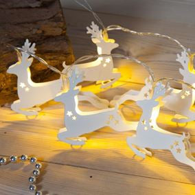 Noma White Reindeer Light Chain 20 LEDS