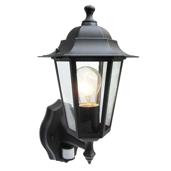Powermaster 6 Sided Black Wall Lantern c/w PIR