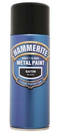 Hammerite Direct To Rust Metal Paint - Satin Finish Aerosol in Black 400ML
