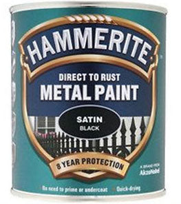 Hammerite Direct To Rust Metal Paint - Satin Finish in Black 750ML