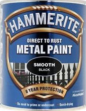 Hammerite Direct To Rust Metal Paint - Smooth Finish in Black 250ML