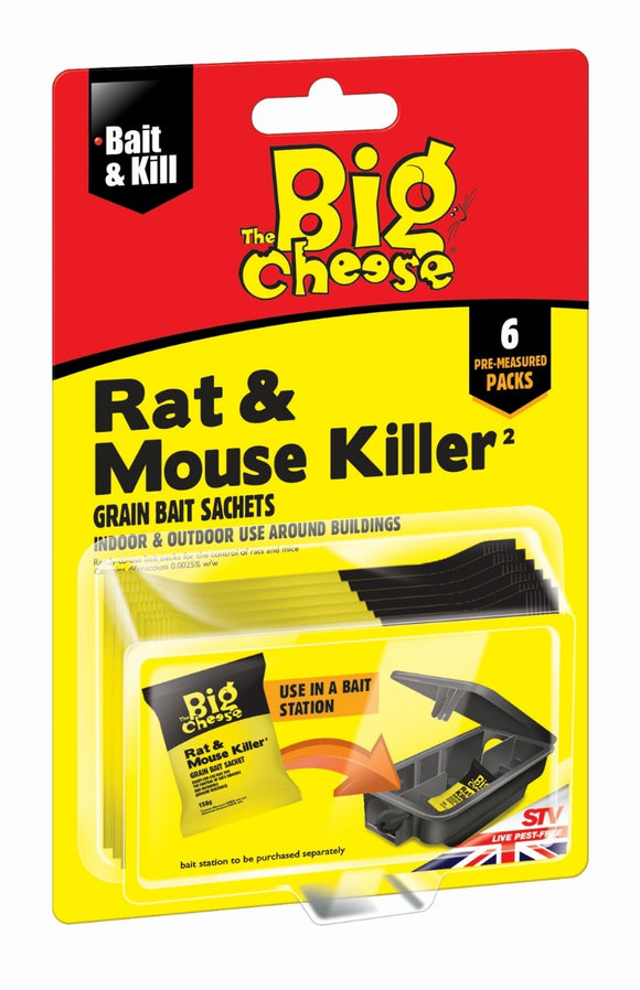 The Big Cheese Rat & Mouse Killer Grain Bait Sachets 6x25g
