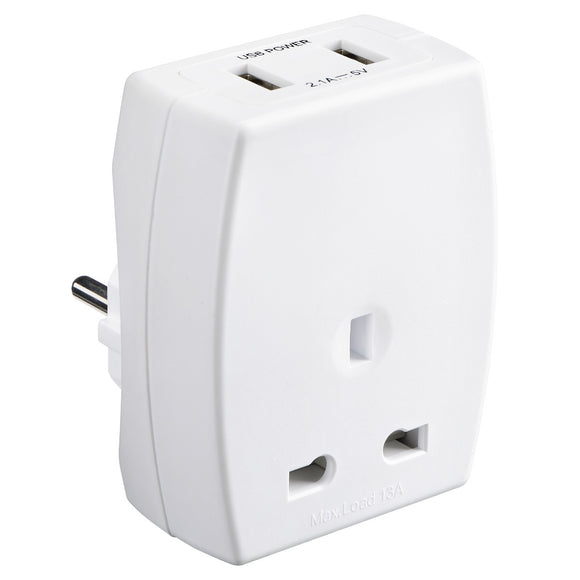 Masterplug USB Travel Adaptor UK - EUR