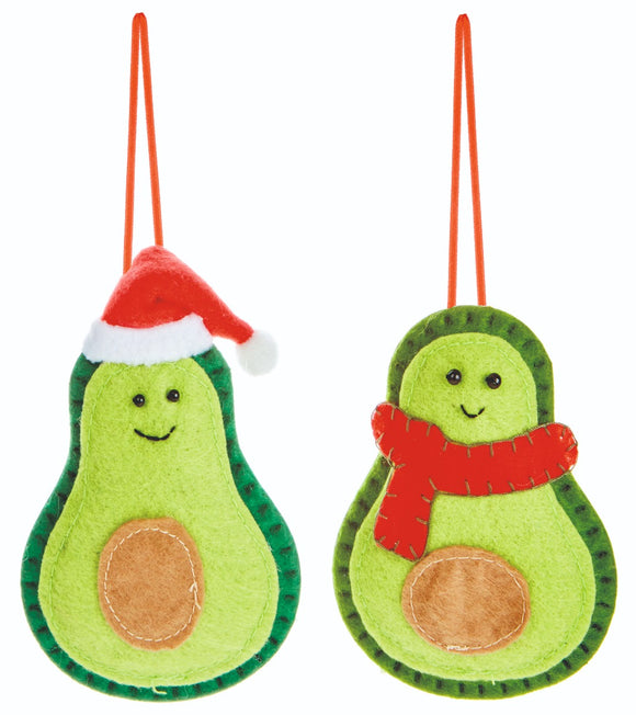 Premier Christmas Felt Avocado Hangers 12cm Assorted