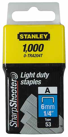 Stanley 1,000 Units 1/4 Inch Light Duty Staples