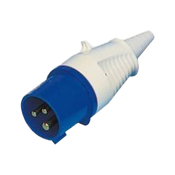 Walther Splashproof IP44 Male Plug Blue 230v & Cable Sleeve
