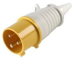 Walther Splashproof IP44 Male Plug Yellow 110v & Cable Sleeve