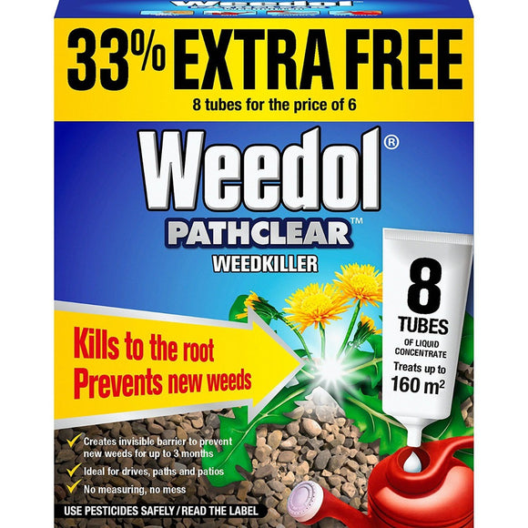 Weedol Pathclear Weedkiller Liquid Concentrate 6 Tubes + 2 Free