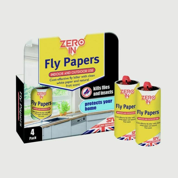 Zero-In Fly Papers x4