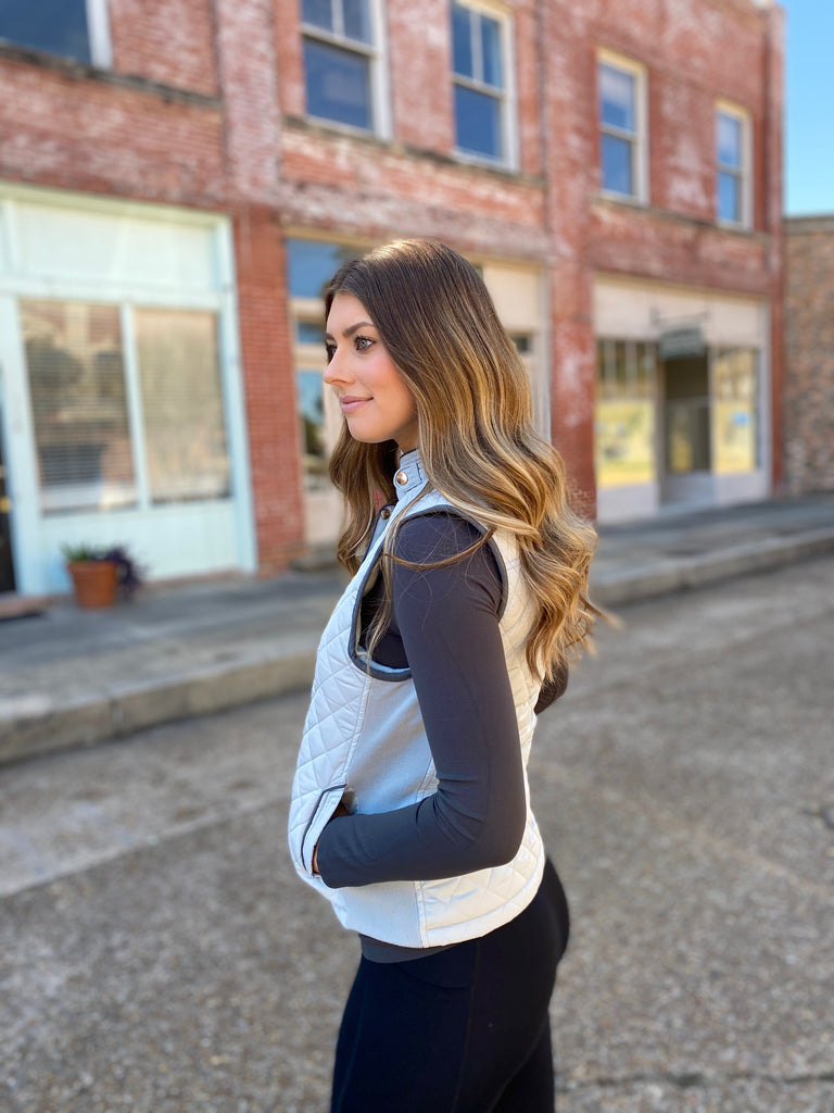 Grey Quilted Riding Vest