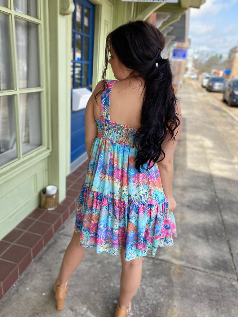 Multi-Color Smocked Tiered Dress
