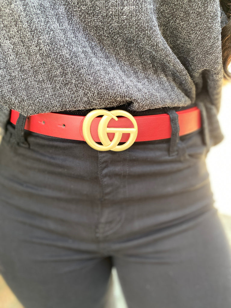 Red 1-Inch Faux Gucci Belt