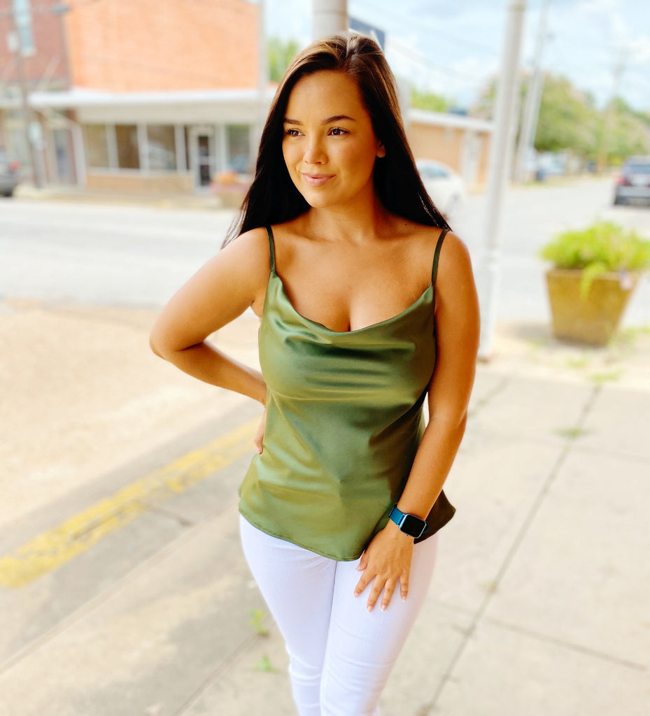 Olive Green Satin Cowl Neck Cami